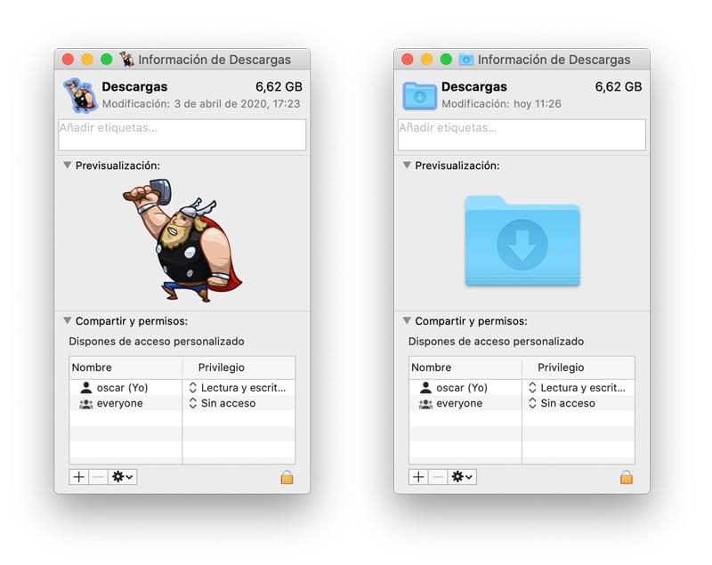 restaurar el icono original de una app o carpeta en macOS