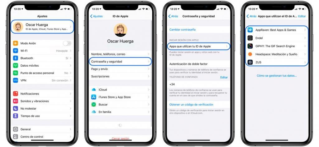 cómo saber que apps o webs usan iniciar sesión con Apple