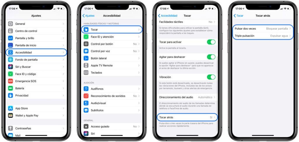 Activar gesto iOS 14 Tocar Atrás