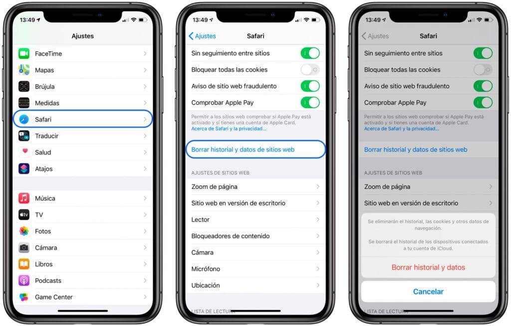Cómo liberar espacio en iOS eliminando datos de sitios web