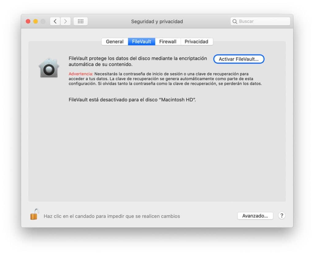 Sistemas para proteger tu información en Mac - Encriptar la información del disco usando FileVault