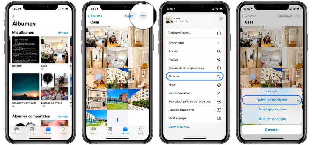 Cómo ordenar fotos en iPhone y iPad