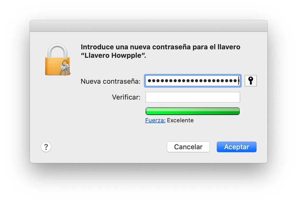 Contraseña del llavero de iCloud