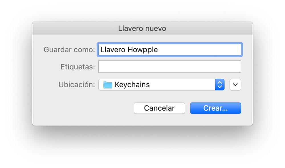 Renombrar nuevo llavero de iCloud para proteger contraseñas en Mac