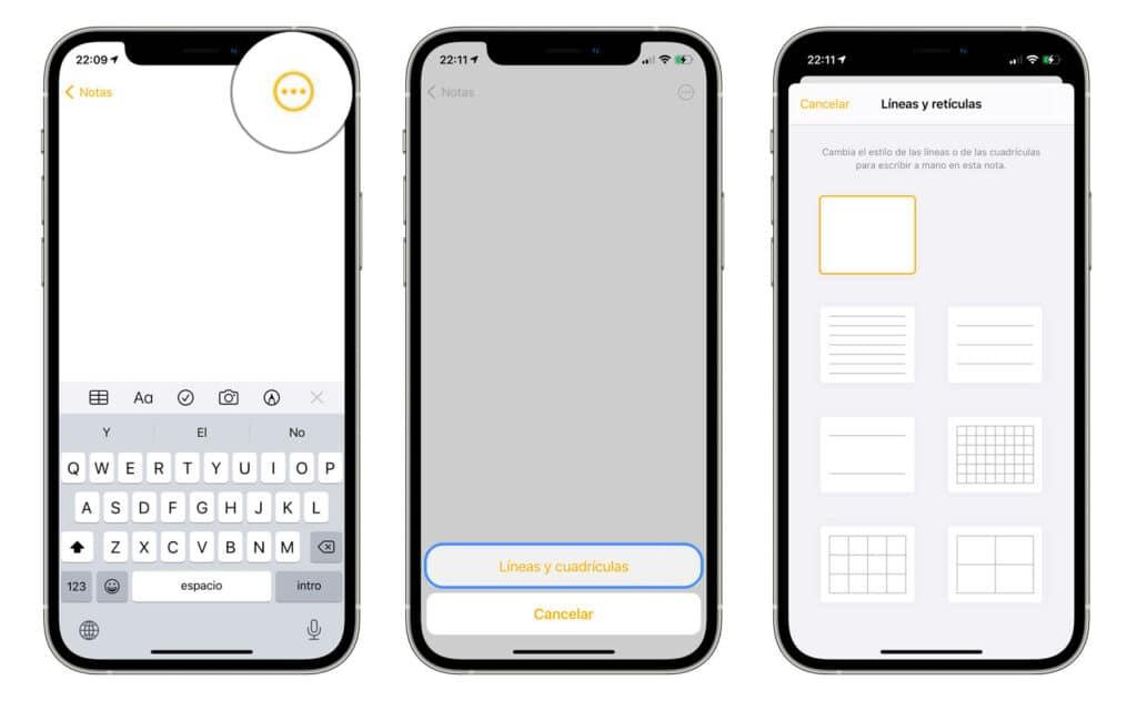 Cómo cambiar el estilo de papel de la app notas en iPhone o iPad