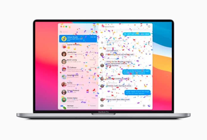 usar los efectos de mensajes en Mac