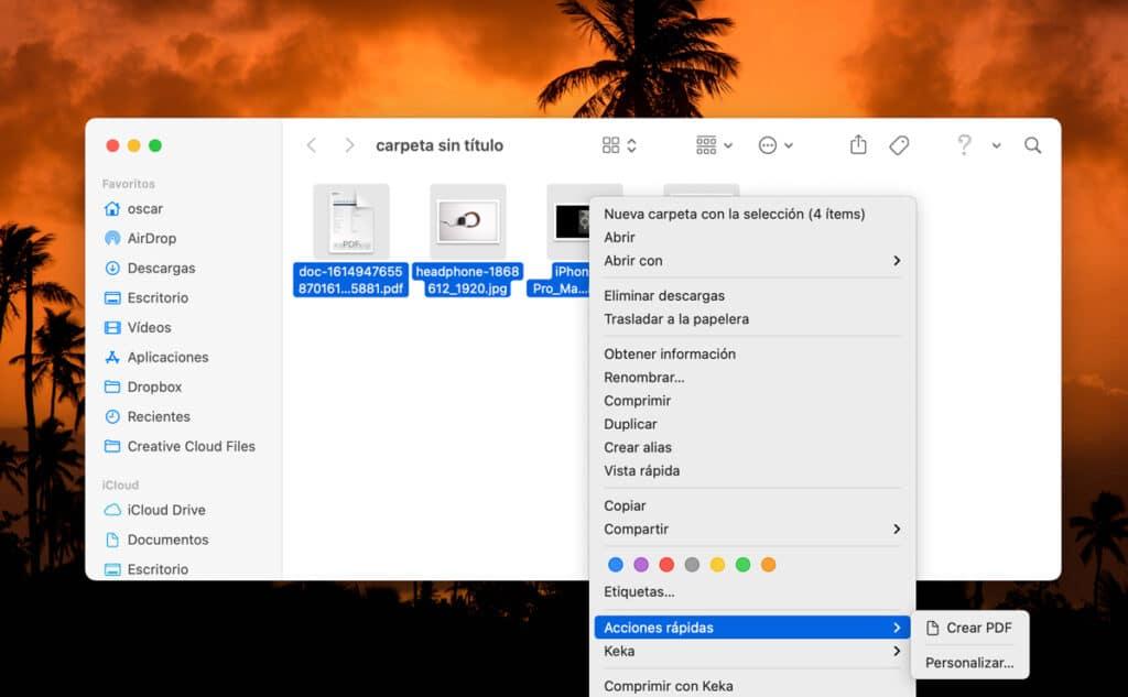 Acciones rápidas para combinar varios archivos en un PDF desde el Mac acciones rápidas