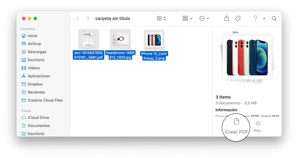 Cómo combinar varios archivos en un PDF activando la previsualización del Finder
