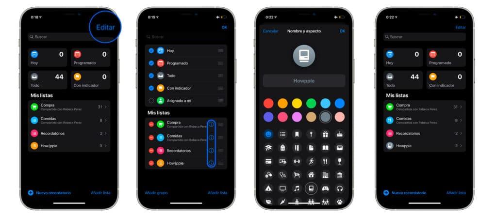 Pasos para personalizar iconos app recordatorios