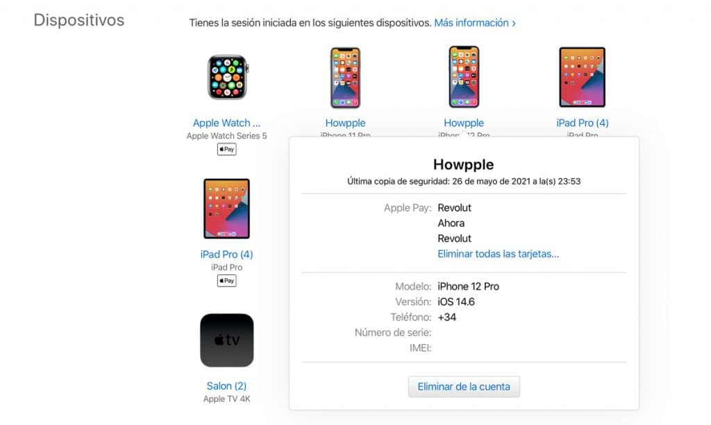 eliminar tarjetas de Apple Pay usando la web del ID de Apple