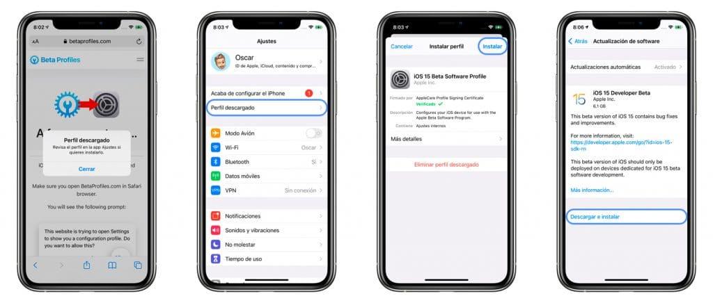 Cómo instalar la beta de iOS 15 en el iPhone