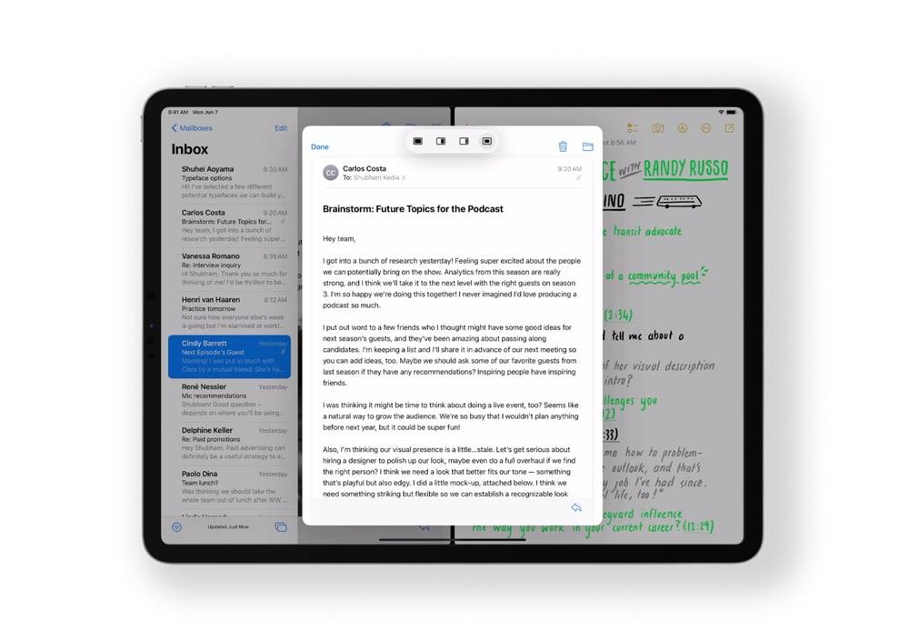 Multitarea y Funciones rápidas en iPadOS 15