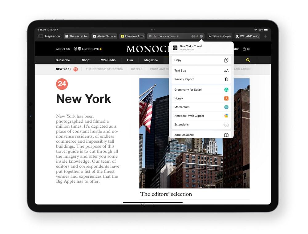 Nuevo Safari de iPadOS 15