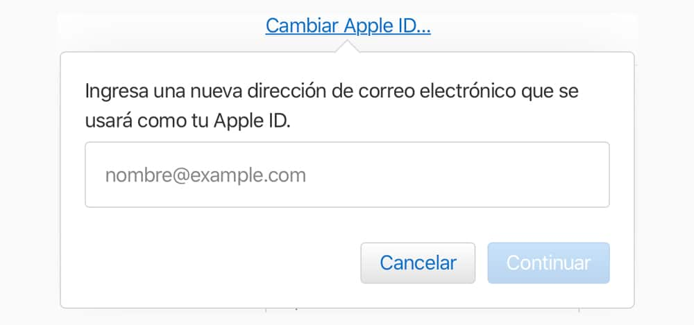 Cambiar Apple ID