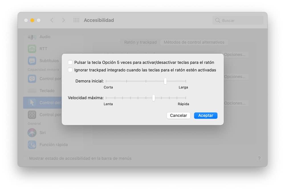 usar el teclado del Mac para mover el cursor del ratón